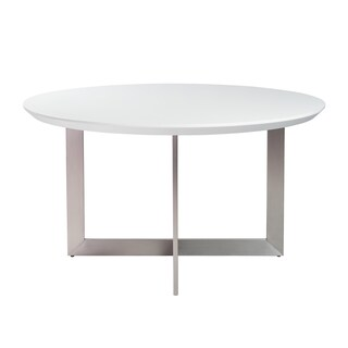 """Tosca 54"""" Round Dining Table in Matte White with Brushed Stainless Steel Base"""