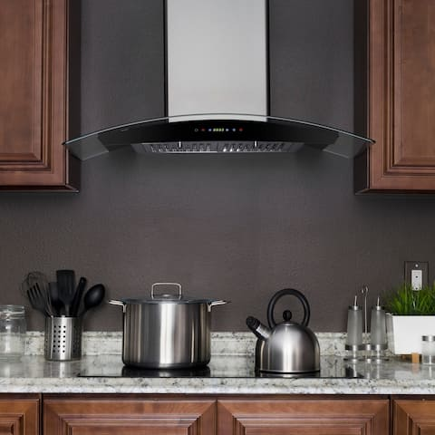 "AKDY RH0290 30"" Stainless Steel Wall Mount Range Hood with Gas Sensor Remote Control"