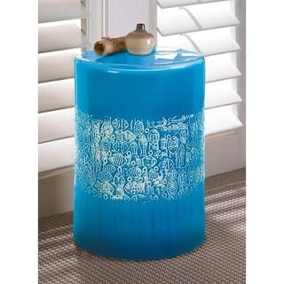 Seashore Round Blue Ceramic Stool