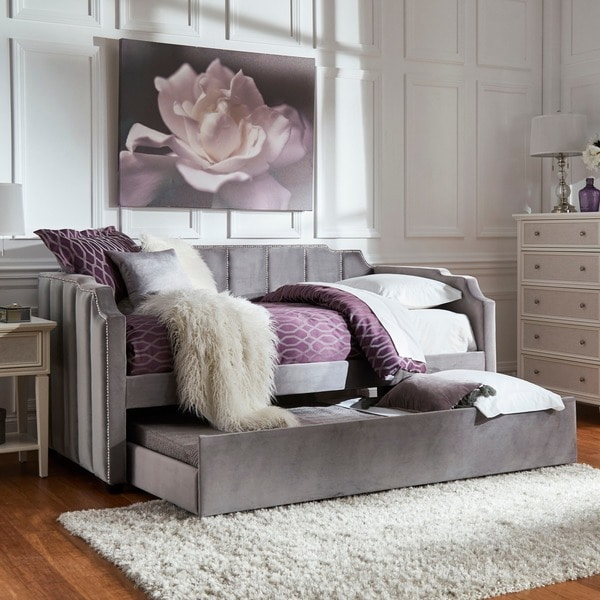 Chareau Grey Velvet Upholstered Daybed and Trundle by iNSPIRE Q Bold. Opens flyout.