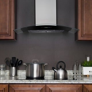 """AKDY RH0291 36"""" Stainless Steel Wall Mount Range Hood with Gas Sensor Remote Control"""