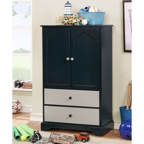 Furniture of America Cing Transitional Solid Wood 2-drawer Armoire