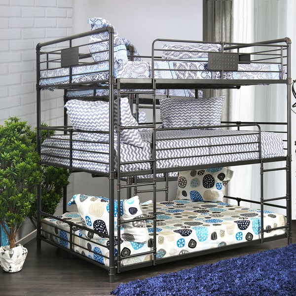 Furniture of America Gorz Industrial Black Full Metal Triple Bunk Bed