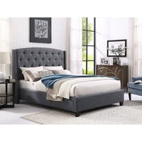 Nantarre Tufted Wingback Upholstered Bed with Nailhead Trim,Gray