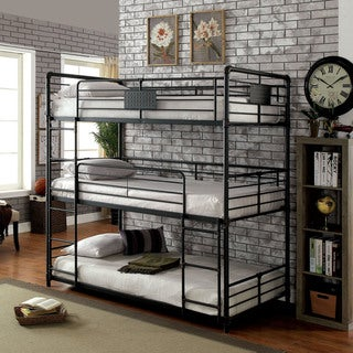 Furniture of America Gorz Industrial Black Twin Metal Triple Bunk Bed