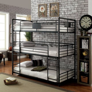 Furniture of America Flynn Industrial Style Metal Antique Black Triple Twin Bunk Bed