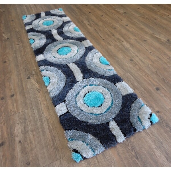 """Indoor Durable Gray with Blue Shag Polyester Handmade Runner - 2' x 7'5"""""""