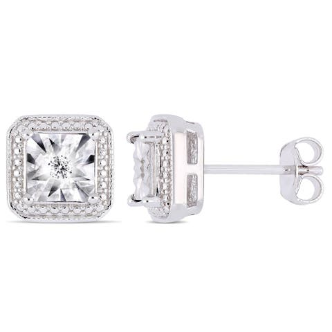 Miadora Sterling Silver Diamond Square Halo Stud Earrings