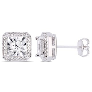 Miadora Sterling Silver Diamond Square Halo Stud Earrings