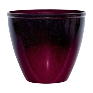 Suncast Modern Red/Plum Resin Modern Planter 14 in. H x 16 in. W x 16 in. L