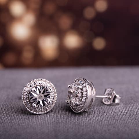 Miadora Sterling Silver Diamond Round Halo Stud Earrings - White H-I