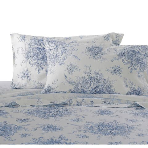 Classical Linen Cotton Collection Natural Printed Toile Sheet Sets
