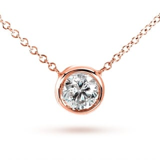 Annello by Kobelli 14k Rose Gold Round Bezel Moissanite Solitaire Necklace