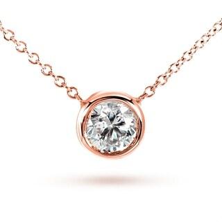 Annello by Kobelli 14k Rose Gold Round Bezel Moissanite Solitaire Necklace