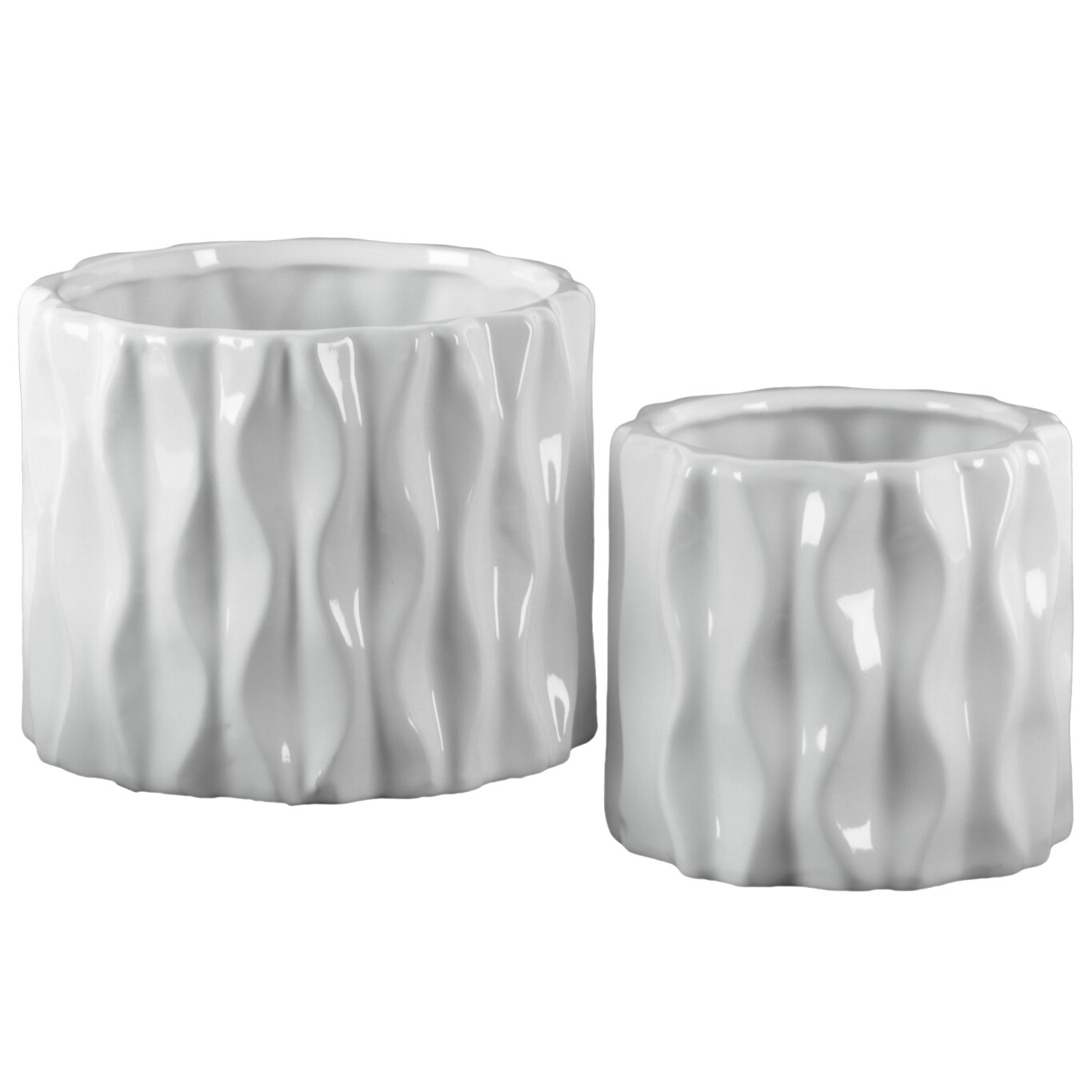 Urban Trends 42969 Ceramic Short Round Vase with Embossed Wave Design Body Gloss Finish White 2 Piece Set of 2