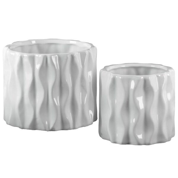 UTC42969: Ceramic Short Round Vase with Embossed Wave Design Body Set of Two Gloss Finish White