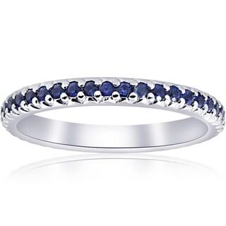 Bliss Platinum 1 ct TW Blue Sapphire Pave Eternity Wedding Band
