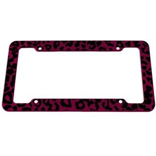 OxGord Plastic License Plate Frame with Leopard Animal Print (Option: PINK)