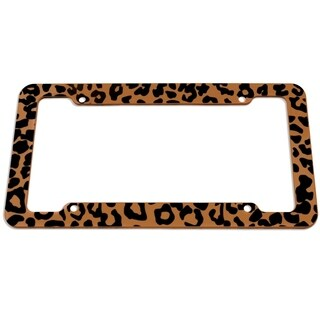 OxGord Plastic License Plate Frame with Leopard Animal Print