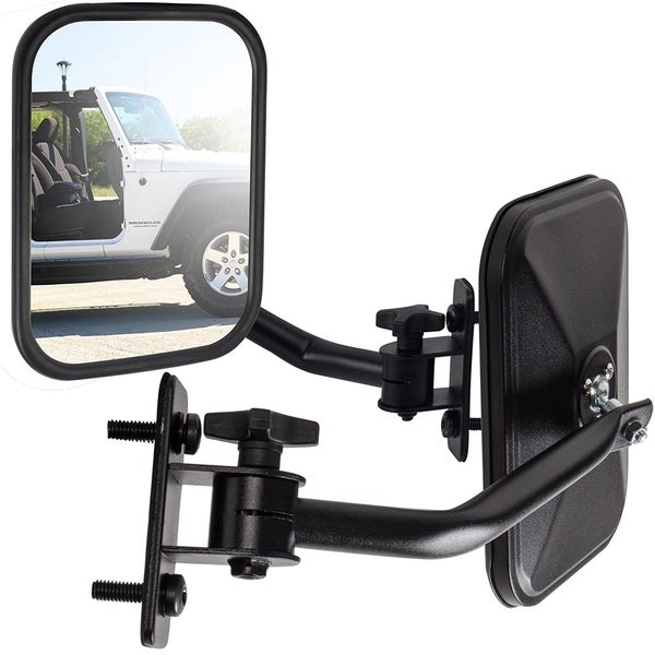 OxGord Side Mirror For Jeep Wrangler Quick Release With Adjustable Arms - Black
