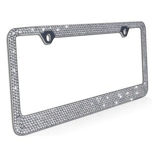 OxGord Metal License Plate Frame with Glitter Bling Rhinestone Diamonds