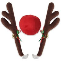 OxGord Reindeer Antlers & Rudolph Nose Universal Holiday Car Costume