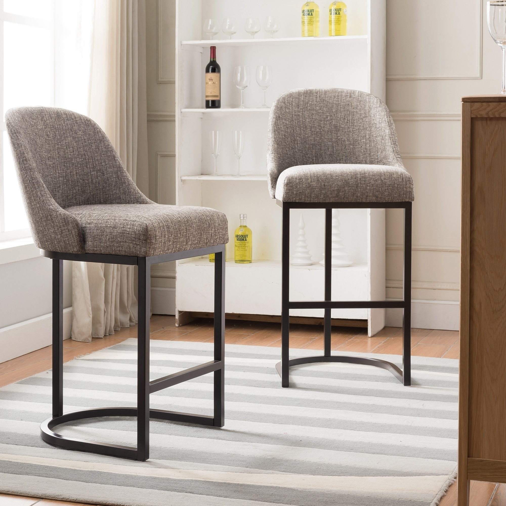 Fantastic Barrelback Gray Linen Counter Stool With Espresso Metal Base Set Of 2 Gmtry Best Dining Table And Chair Ideas Images Gmtryco