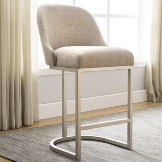Barrelback Oatmeal Linen Counter Stool with Pewter Metal Base Set of 2