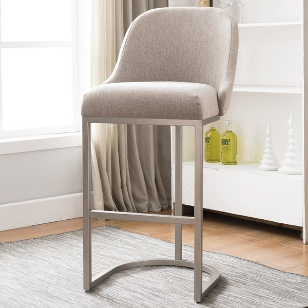 Stupendous Shop Barrelback Oatmeal Linen Bar Stool With Pewter Metal Ncnpc Chair Design For Home Ncnpcorg
