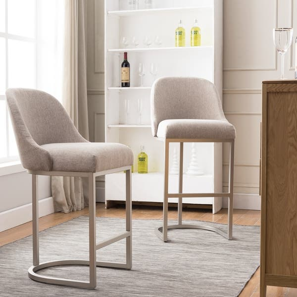 Outstanding Shop Barrelback Oatmeal Linen Bar Stool With Pewter Metal Ncnpc Chair Design For Home Ncnpcorg