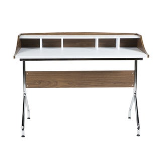 Ivory Desk in Walnut and White with Chromed Steel Legs