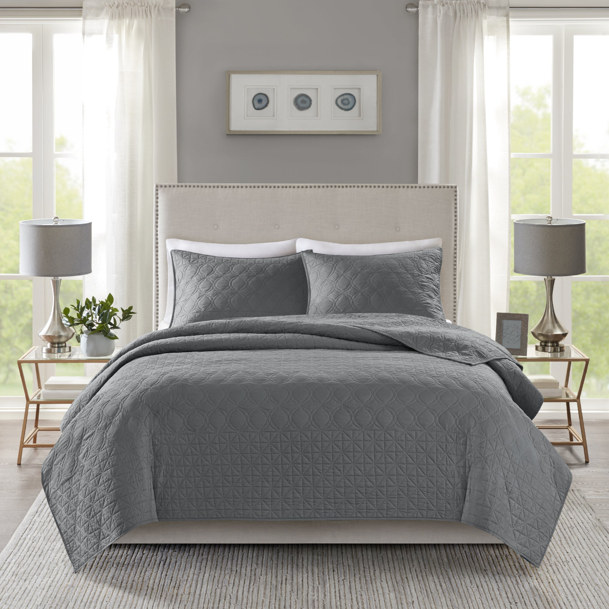 Madison Park Remy Dark Grey Quilted Coverlet Set Overstock 19968884