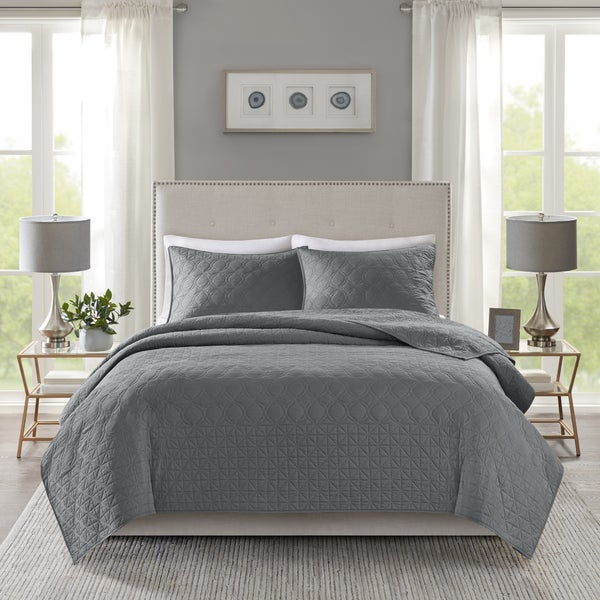 Madison Park Remy Dark Grey Quilted Coverlet Set