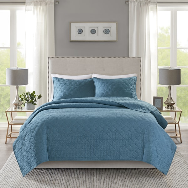 Madison Park Remy Teal Quilted Coverlet Set