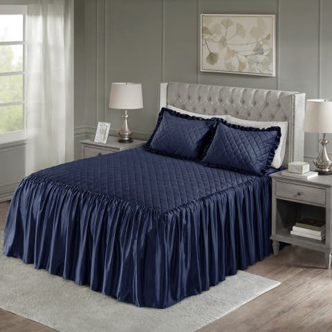 Madison Park Cosette Navy Faux Velvet Diamond Quilted Bedspread Set
