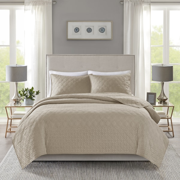 Madison Park Remy Taupe Quilted Coverlet Set