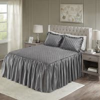 Madison Park Cosette Grey Faux Velvet Diamond Quilted Bedspread Set