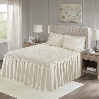 Madison Park Cosette Ivory Faux Velvet Diamond Quilted Bedspread Set
