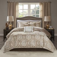 Madison Park Waylon Taupe 6-piece Jacquard Duvet Cover Set