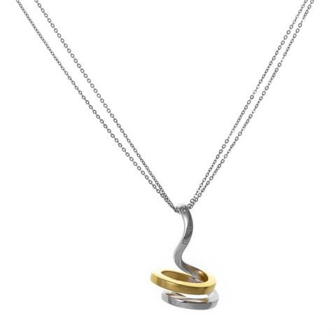 Eden 18K White and Yellow Gold Spiral Pendant Necklace