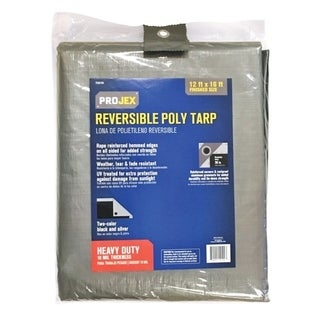 Projex Silver/Black Heavy Duty Tarp 16 ft. W x 12 ft. L