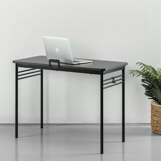 Priage Retro Espresso Wood and Metal Desk