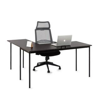 Priage L-shaped Espresso Wood Steel Desk