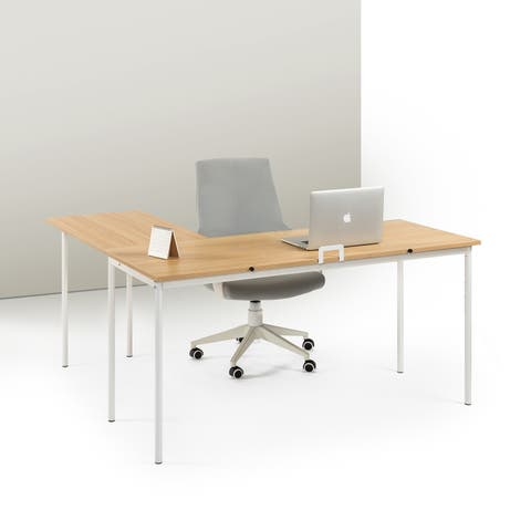 Priage by Zinus L-Shaped Desk, Cream