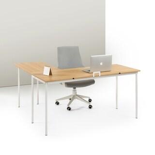 Priage Cream Wood/Steel L-shape Desk