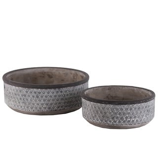 UTC56501: Cement Low Round Pot with Lattice Floral Design Body and Tapered Bottom Set of Two Washed Concrete Finish Gray