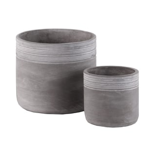 UTC54801: Cement Round Pot with Ribbed Banded Rim Top Set of Two Natural Finish Gray