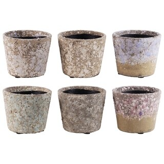 UTC55703-AST: Terracotta Round Pot with Tapered Bottom Assortment of Six Exposed Aggregate Finish Pastel