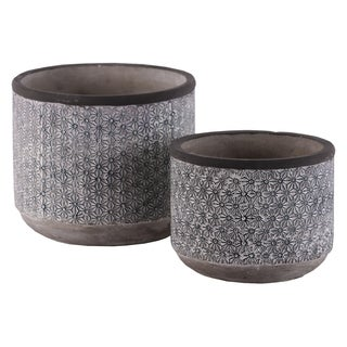 UTC56502: Cement Cylindrical Pot with Lattice Floral Design Body and Tapered Bottom Set of Two Washed Concrete Finish Gray