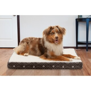 FurHaven Faux Sheepskin & Flannel Paw Decor Deluxe Memory Foam Pet Bed